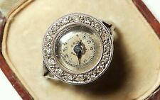 Antique Art Deco Watch & Diamond 18ct White Gold Ring & orig. case