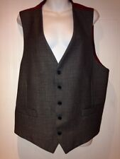 MENS M & S ALFRED BROWN  GREY WORSTED 2 POCKET BUSINESS SUIT WAISTCOAT XL 46