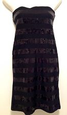 Women's ValleyGirl Sequin Striped Bodycon Little Black Mini Dress Small 8-10