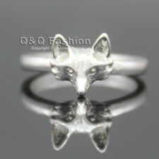 Silver 3D Foxy Fox Head Wild Animal Band Finger Ring Gift Goth Punk Fancy Dress