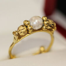 Rare handmade, one of a kind, Vintage 22ct yellow gold and cultured pearl ring.