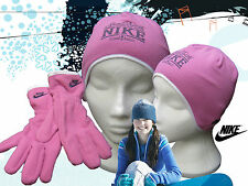NIKE Just Do It Fleece HAT and GLOVE Set  Pink Girls AUTHENTIC