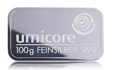 100g Gramm Silberbarren Umicore 999,0 Feinsilber Barren geprägt