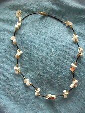 Genuine White SHELL Necklace 42cm Black & Gold Beads Vintage Made in Philippines
