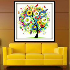 14CT Counted Cross Stitch Kit Colorful Tree Embroidery Set 45*45cm Home Decor