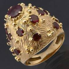 Ostentatious 19 GARNET 18K GOLD HIGH DOME COCKTAIL RING Estate solid yellow Sz M
