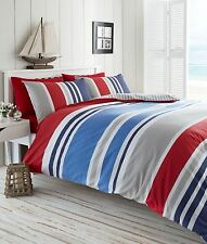 Blue, White, Grey & Red Reversible Nautical Striped Double Duvet Cover Set