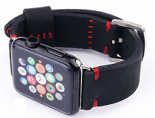 Quality Handmade Black Nubuck Leather Watch Strap Band For Apple Watch 42mm