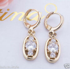 UK Ladies Fashion White Sapphire 18KT Gold Filled Party Gift Jewellery Earrings