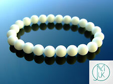 Frosted White Agate Natural Gemstone Bracelet 7-8'' Elasticated Healing Stone