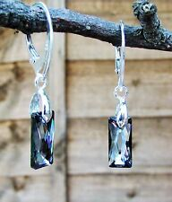 925 STERLING SILVER EARRINGS WITH SWAROVSKI Crystal SN 13.5mm Queen Baguette