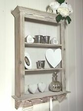 French Vintage Style Wall Unit Shelf Storage Cupboard Cabinet Display Hooks