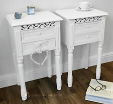 Set of 2 BEDSIDE TABLES in WHITE Belgravia style bedside cabinet  shabby / chic