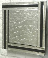 "Eva Silver Glass Framed Square Bevelled Wall Mirror 32"" x 32"" Large"