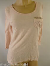 ☆ Ladies Pink 100% Cotton Sequinned Pocket 3/4 Sleeved T-Shirt Top 8 EU 36 ☆
