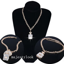 Women Chunky Crystal Perfume Bottle Pendant Gold Plated Chain Necklaces NEW
