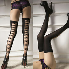 Sexy Lady Women Black Thick Lace Top Opaque Thigh High Stockings long Socks knee