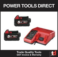 NEW MILWAUKEE 18V CORDLESS M18B5 5AMP BATTERIES X 2 OFF & 18V BATTERY CHARGER