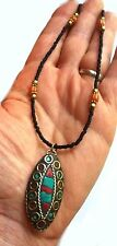 Choker Tibetan Gold Silver Turquiose Red Coral Chip Charm Surf Festival Jewelry