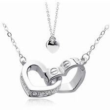 Women's 18K Gold Double Heart Unique Pendant Fashion Necklace Silver Colour
