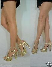 Women Gold Sandals Evening/Club Glittery T-bar High Heel Tango Size 6