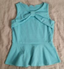 ASOS AWear Pastel Blue Peplum Top Tank Office Casual Bow Detail Shell Size M