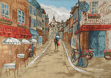 WALL JACQUARD WOVEN TAPESTRY French Cafe EUROPEAN CITY CONTEMPORARY PICTURE