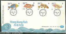 HONG KONG 1981 FISH SET  FIRST DAY COVER