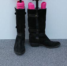 Moda In Pelle Black Suede Fleece Lined Boots Size 6/39
