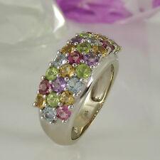 Ring in 585/- Weißgold mit 25 verschiedenen Farbsteinen zus. ca 2,5 ct - Gr. 55