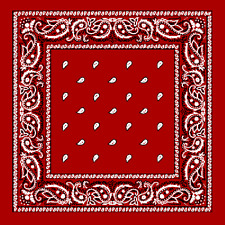 Red Extra Large 100% Cotton Bandana Scarf Black White Paisley 27 in sq Headscarf