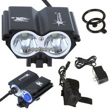 New SolarStorm 2x Bulb XML U2 LED Bike Bicycle HeadLamp Light +4x 18650 B0193
