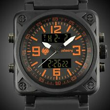 INFANTRY MENS DIGITAL QUARTZ WRIST WATCH DUAL CHRONOGRAPH ARMY PILOTS WATERPROOF