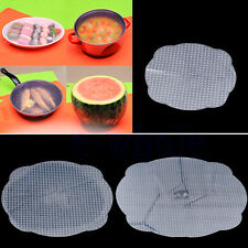 3 Silicone Vacuum Storage Lids Food Fresh Bowl Plate Stretch Sealer Cover Pad WS