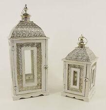 Dekobote, Metall Holz Laterne 2er 68/46 cm Set Shabby Windlicht Kerzenhalter