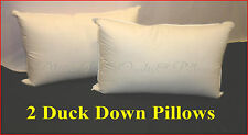 2  STANDARD PILLOWS 60% DUCK DOWN LUXURY HOTEL DELUXE QUALITY 100% COTTON CASING