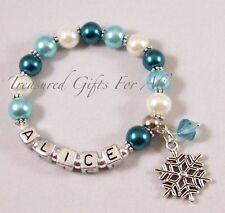 Personalised Frozen Inspired Child Adult Name Bracelet Snowflake Charm Party