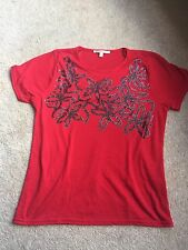 Ladies Red Anna Rose Top With Floral Detailing - Size S