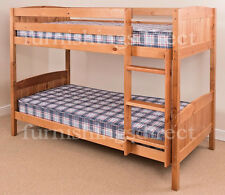 ANTIQUE PINE BUNK BED + 2 X SPRUNG FLEX MATTRESSES, SPLITS INTO 2 SINGLE BEDS