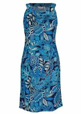 Stunning Blue Tahiti stencil SEQUIN floral Print dinner Party DRESS stretchy 16