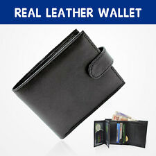 MENS SOFT BLACK GENUINE REAL LEATHER BIFOLD WALLET CREDIT CARD HOLDER PURSE  (