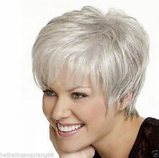 Beautiful lady Short Straight Silver Grey Synthetic Hair Wigs+wig cap