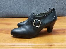 """Women's Naturalizer """"Kona"""" Black Leather Boots Heels Ankle Booties Shoe Size 10M"""