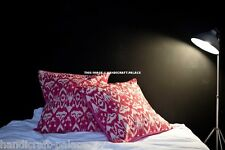 "Indian 16"" Ikat Design Handmade Kantha Cushion Cover Boho Cotton Pillow Case"