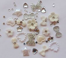 """24 x 3D Acrylic Nail Art Decoration """"Silver & White"""" Flower,Heart Star Bow Craft"""