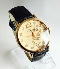 NEW Ladies DIAMANTE/GOLD HEARTS Stainless Steel watch LEATHER STRAP, UK SELLER
