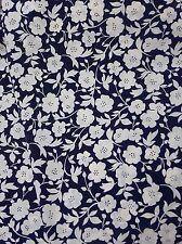 Vintage retro true 70s 116 cm x 2 m blue white crepe floral fabric NOS