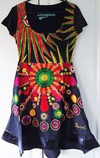 New Desigual Ladies Dress,Half Sleeve, Black&Multi, Size L