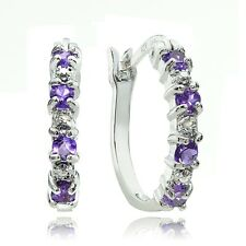 Sterling Silver Amethyst & Diamond Accent Hoop Earrings