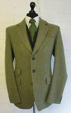 Bespoke moss green red herringbone check wool tweed suit blazer jacket 42R